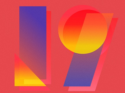 19 geometric pattern numbers light typography gradient type number 19
