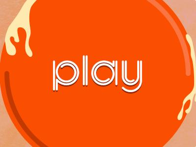Play button play liquid orange center
