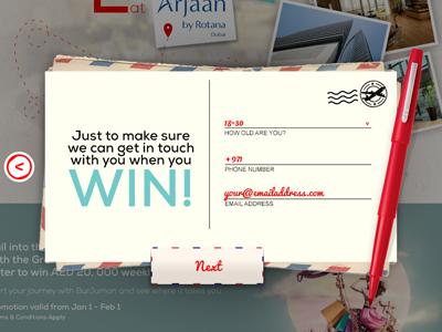 Win win postcard artwork red pen next button