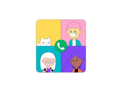 Group Calling app web design vector illustration branding
