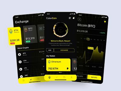 CyberCoin - Cyberpunk-inspired Cryptocurrency App cryptocurrency cyberpunk dark mode mobile app app flat clean ui ux ui