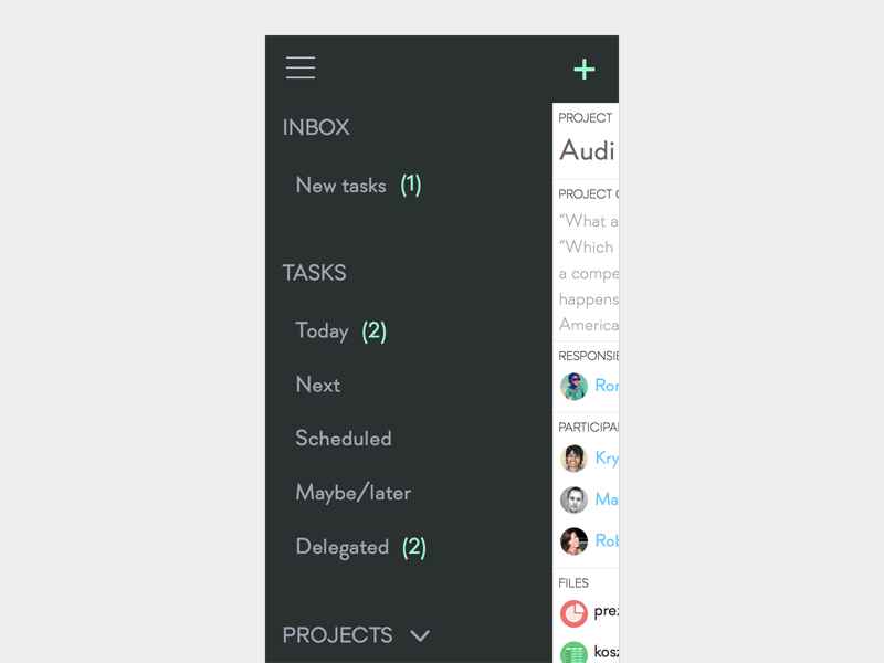 A new project management app Proj es - slide-out menu by