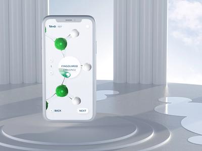 Teva api spotlight sovery visual design hightech startup motiongraphics motion molecule modern glass web ui design white pharmaceutical mobile uiux branding 3d artist cgi c4d 3d