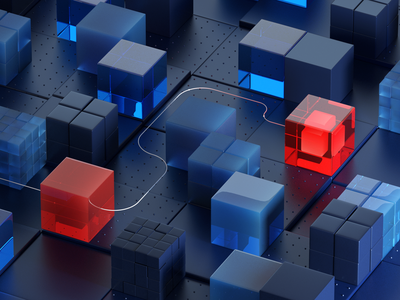 cubes platform/problem high tech platform redshift3d mograph data red sovery blue concept cubes composition abstract branding glass 3d artist web 3dillustration cgi c4d 3d