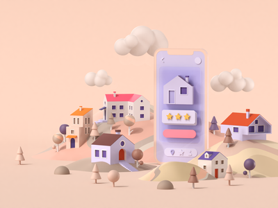 real-estate app mobile startup ux ui clouds hills trees buildings city toy sweet candy realestate sovery web 3dillustration 3d artist 3d cgi c4d