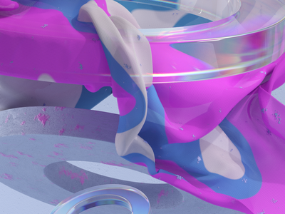cloth simulation fabric dispersion wallpaper background blue cloth magenta redshift3d cloth simulation contemporary abstract sovery art web glass 3dillustration 3d artist 3d cgi c4d
