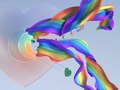 Happy pride month! 3d art ribbons contemporary flag wallpaper mograph love heart beads summer sovery pride rainbow cloth glass 3dillustration 3d artist 3d cgi c4d