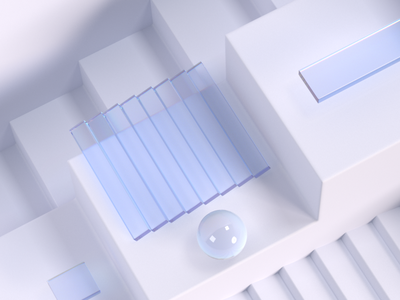 Geometric composition branding web illustration light stairs background composition minimal white cubes geometric abstract glass 3d c4d