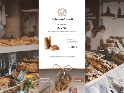 Daily UI #017 - Email Receipt email campaign bakery email receipt website daily ui dailyui