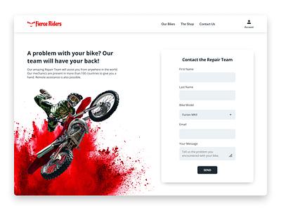 Daily UI #028 - Contact Us branding redesign red motorbike webdesign daily ui dailyui