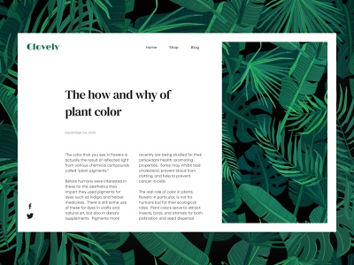 Daily UI #035 - Blog Post webdesign branding plants daily ui 035 daily ui dailyui