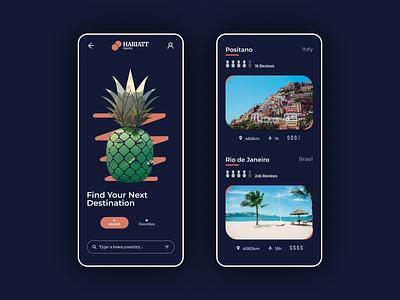 Daily UI #044 - Favorites positano ananas travel app branding favorites daily ui 044 daily ui dailyui