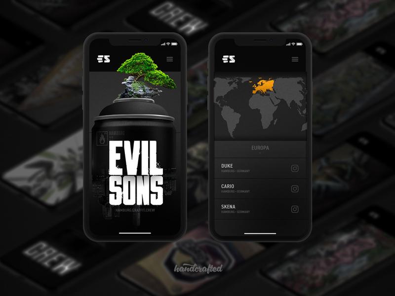 EVIL SONS Landingpage Mobile mobile evilsons landingpage homepage screendesign design ui webdesign