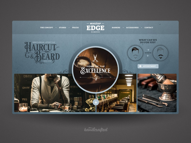Landing Page Babershop landingpage homepage design hamburg germany freelancer ui webdesign screendesign