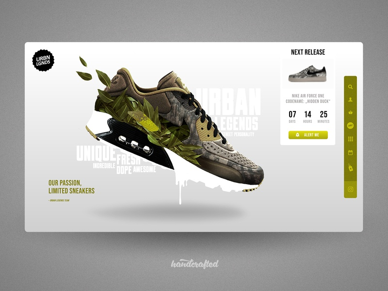 Concept for a Limited Edition Sneaker Store hamburg freelancer germany landingpage ui webdesign homepage screendesign