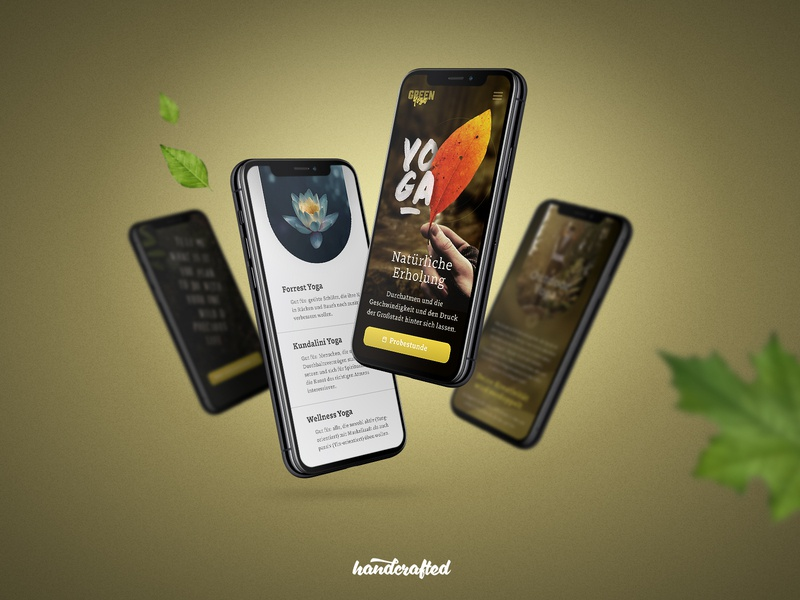 Green Yoga mobile design ui hamburg germany freelancer landingpage homepage webdesign screendesign