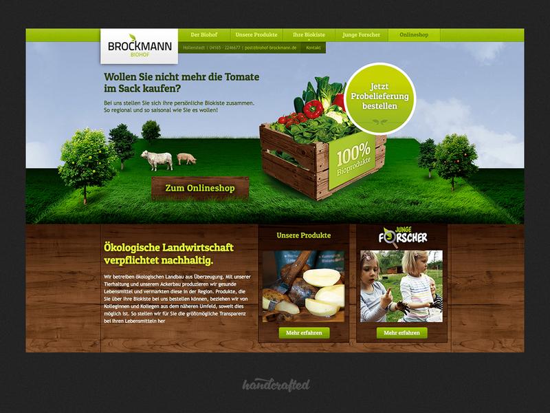 Webdesign Biohof Brockmann ui homepage landingpage webdesign screendesign