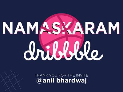Namaskaram (Hello) dribbble! 🧶 adobe illustrator adobe dribbble invitation debut shot debutshot debut illustration invite dribbble invite thanks thankyou dribbble hello hellodribbble
