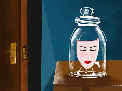 Eleanor Rigby - The Beatles doorknob doors glass jar woman face door ipad procreate illustration inspired song eleanor rigby beatles the beatles