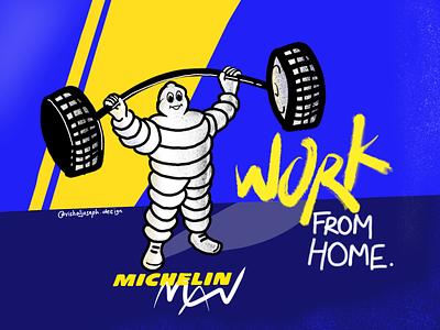 Michelin man #WorkFromHome concept illustration covid19 covid mascot michelin man