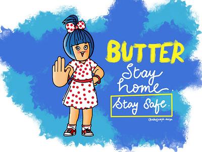 Amul Girl funny humour puns corona procreate cartoon concept series illustration covid19 covid mascot amul girl amul