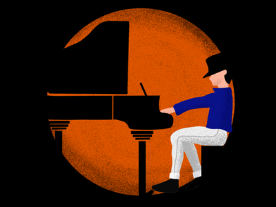 Piano man stippling brush pose character flat illustration grand orange black stippling procreate jackson michael man piano
