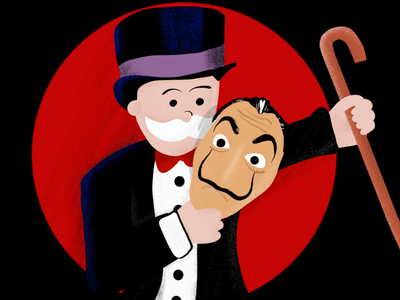 Monopoly heist brush stippling ipad4 procreate comic home mascots lockdown covid covid19 monopoly man professor mask dali money heist