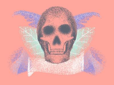 Grainy skull. dark illustration sketch art procreate coolors pink grains rose purple rose flowers leaves stippling brush skull