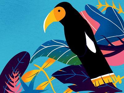 Black bird, black bird... jungle rainforest leaf green blue flat material design gal shir galshir forest leaves diys black bird bird illustration