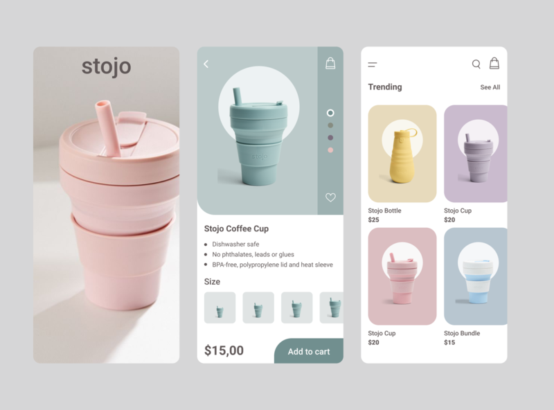 Stojo Mobile App ui  ux ecology online shop store option shopping cart online mobile app minimal ios ux ui stojo shop ecommerce design clean cart app