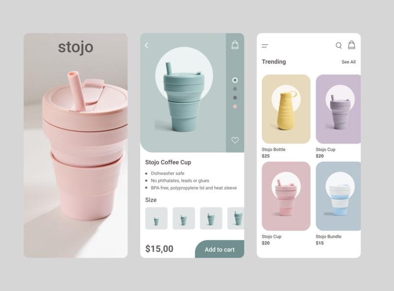Stojo Mobile App ui  ux ecology online shop store option shopping cart online mobile app minimal ios ux ui stojo shop ecommerce design clean cart app