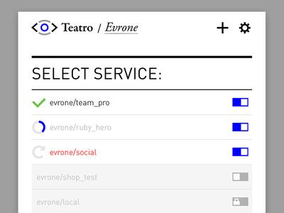 Teatro.io product UI design: Select Service