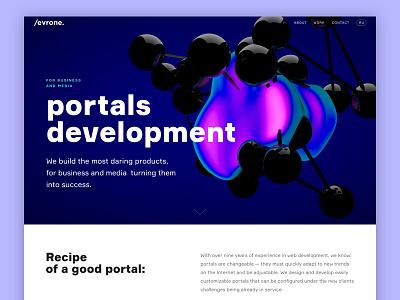 Portals Development Landing development portals promo landing page illustration 3d landing