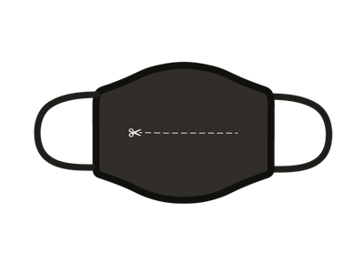 Cut here line scissors clean challenge illustrator facemask