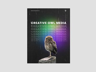 Creative Owl Media Poster concept print advert gradient owl poster