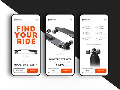 Boosted Boards black orange webshop minimal mobile clean skateboard boosted