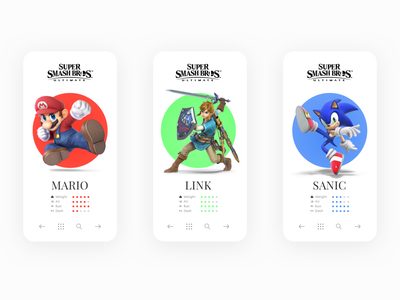 Super Smash Brothers Ultimate portfolio ux concept sonic link mario clean super smash bros app mobile ui