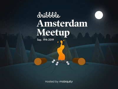 Amsterdam Dribbble Meetup marshmellow amsterdam campfire after effects procreate illustration animation meetup dribbble