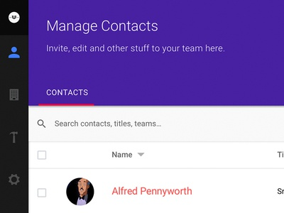 Manage Contacts teams manage users manage contacts dashboard web app contacts interface ui employee directory