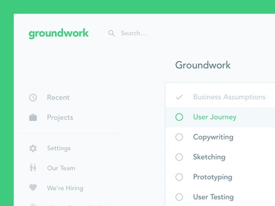 Groundwork Project simple app project web app dashboard interface ui ux