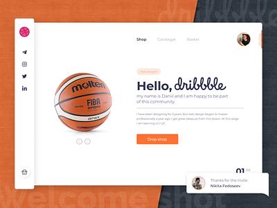 Hello, dribbble! orange interface invite background shop profile basket welcome shot hellodribbble hello dribble minimal welcome typography ui webdesign