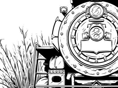 this weeks project illustration keyline steamengine train screenprint gigposter