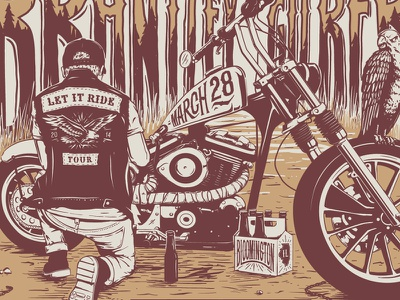 Tonight We Ride, Full Throttle on this Project illustration keyline gigposter screenprint motorcycle