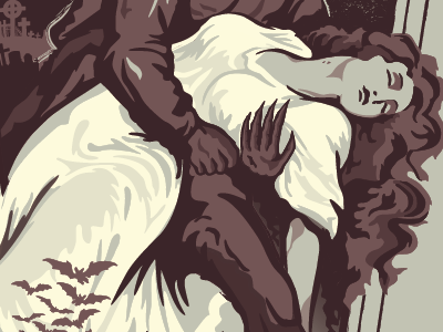 Damsel in Nosferatu Poster screenprint girl horror halloween hair illustration keyline vampire classic film bats nosferatu