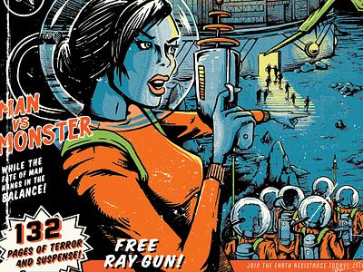 Free Ray Gun! space girl raygun sci-fi planet comic pulp-ficition helmet monster illustratoin keyline halftone