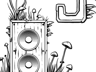 Super Secret Project #1 mushrooms speaker wood grass amplifier keyline rustic fungus 2015 illustration cintiq