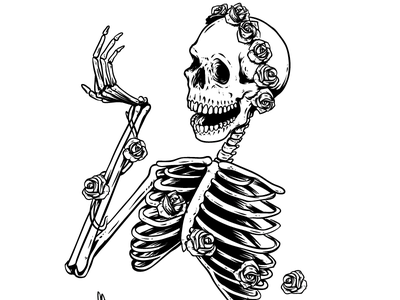Grateful Dead Tribute Band Gig Poster white flowers black skull roses grateful dead work in progress illustration death bones skeleton keyline