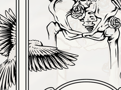 Grateful Dead Tribute Band Gig Poster 2 work in progress skull skeleton bones black white dead grateful dead bird raven keyline illustration