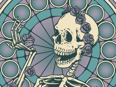 Grateful Dead Tribute Band Gig Poster 3 radial grateful dead gig poster dead skull skeleton illustration bones roses pattern halftones gradients