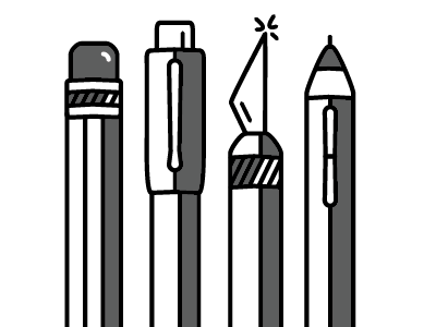 Tools of the Trade minimalist shading pen work in progress pencil knife stylus waacom thick line tools design illustration